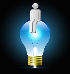 Glowing blue light bulb with human shape vector image