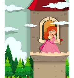 Princess on the tower vector image vector image
