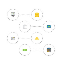 flat icons bank teller machine money and other vector image