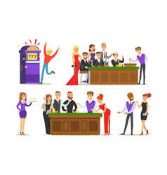 Gamblers in chic casino in vegas playing cards vector