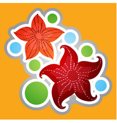 marine red stars in a cartoon style sticker for vector image vector image