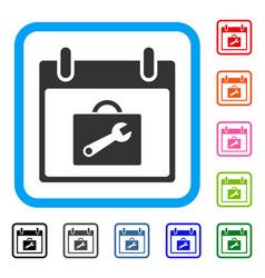 toolbox calendar day framed icon vector image