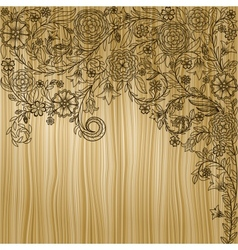 Vintage background with doodle flowers on wooden vector image vector image