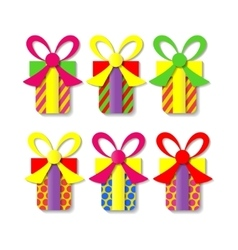 A set of colorful gift boxes vector image