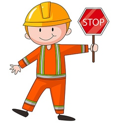 Construction worker holding stop sign vector image