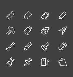 stationery white icon set on black background vector image vector image