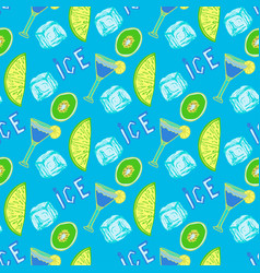 summer cocktail seamless pattern hand-drawn ice vector image vector image