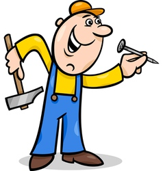 worker with nail cartoon vector image vector image