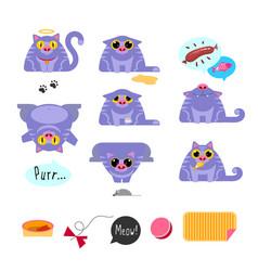 cat flat design icon set vector image vector image