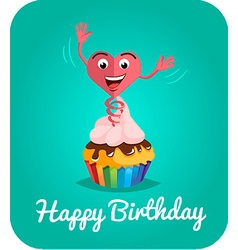 Happy birthday card jumps out of cake 2 vector image vector image
