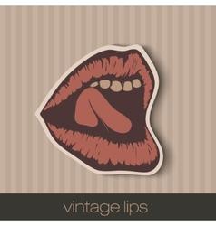 vintage paper lips vector image vector image