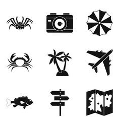 Waterfront icons set simple style vector