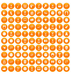 100 emotion icons set orange vector