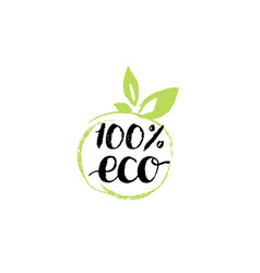 100 percents eco hand lettering organic food logo vector