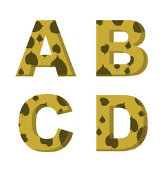a b c d letters with leaves of trees on them vector image