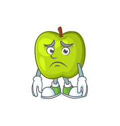 Afraid granny smith green apple cartoon mascot vector