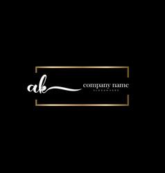 Ak initial letter handwriting logo hand drawn vector