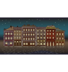 Antique European street Night Summer city landscap vector image