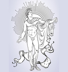 Apollon the mythological hero of ancient greece vector