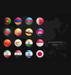 Asian countries flags 3d glossy round icons set vector