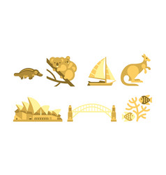 australia traveling icons set australian vector image