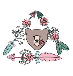 Bear grizzly with feathers and arrows bohemian vector