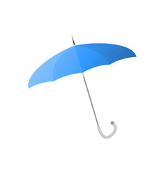 blue umbrella with thin metal stick isolated vector image