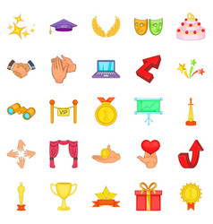 Bonus icons set cartoon style vector