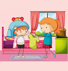 Boy getting dress in bedroom vector