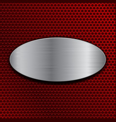 Brushed metal oval plate on red perforated vector