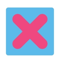 Cancel flat pink and blue colors rounded button vector