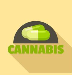 cannabis pill logo flat style vector image