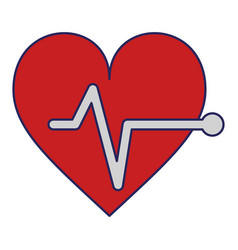 cardiology heartbeat symbol isolated blue lines vector image