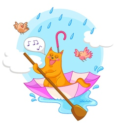 cat in rain vector image