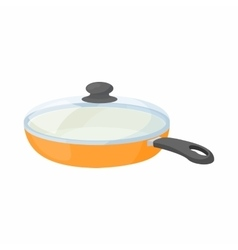 Ceramic frying pan with glass lid icon vector