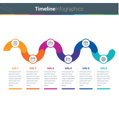 clean and colourful timeline curved infographics i vector image