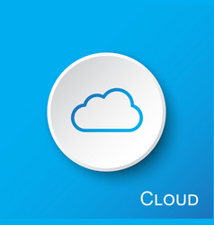 Cloud button on blue gradient background vector