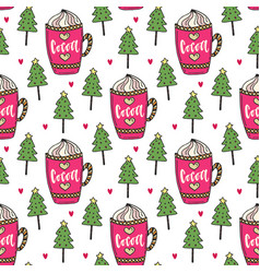 cocoa background with winter trees sweet seamless vector image