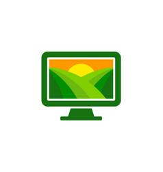 Computer farm logo icon design vector