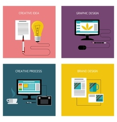 Creative process branding graphic design icon set vector image