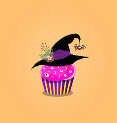 cute halloween cupcake with purple cream witch vector image