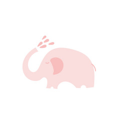 Cute pink elephant with with water drops vector