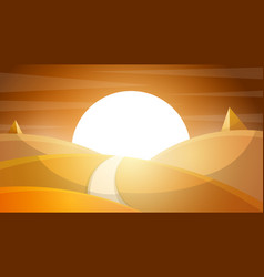 desert landscape pyramid and sun vector image