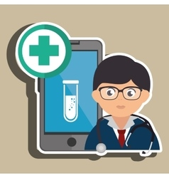 Doctor with lab tube cellphone isolated icon vector