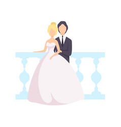 Elegant couple of newlyweds posing for photo vector