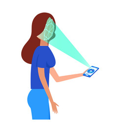 Face id face identification of young woman vector