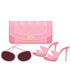 female bag shoes and sun glasses vector image