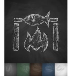 Fish bbq icon hand drawn vector