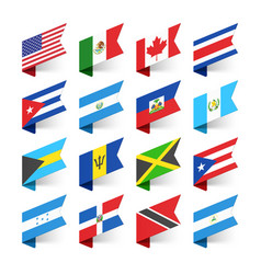 Flags of the world north america vector