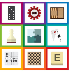 Flat icon entertainment set of jigsaw pawn poker vector
